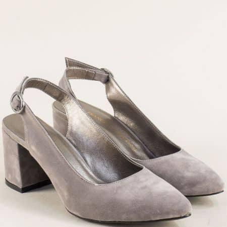 Дамски обувки на висок облечен ток в сив велур ma698vsv