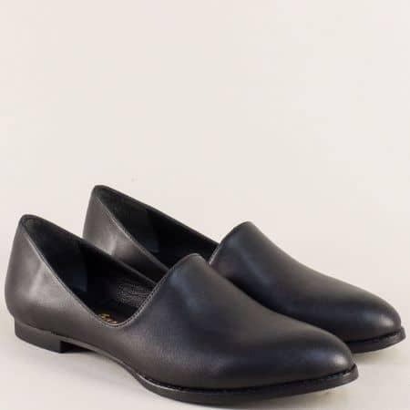 Черни елегантни дамски обувки от естествена кожа на равно ходило ma700ch