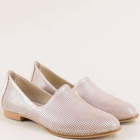 Перфорирани дамски обувки на равно ходило в розово ma700dsrz