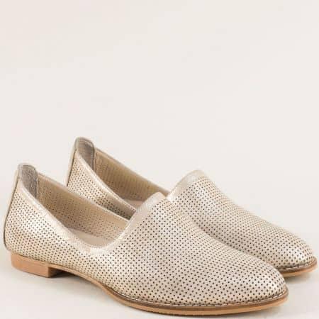 Златни дамски обувки от естествена кожа и сатен ma700dszl