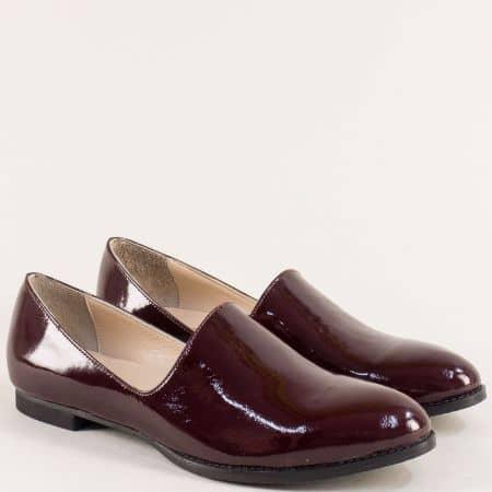 Равни дамски обувки от естествен лак в цвят бордо ma700lbd