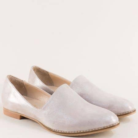 Бежови дамски обувки от сатен и естествена кожа ma700sbj