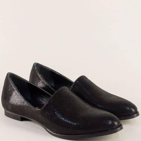 Дамски обувки от естествена кожа и сатен в черен цвят ma700sch