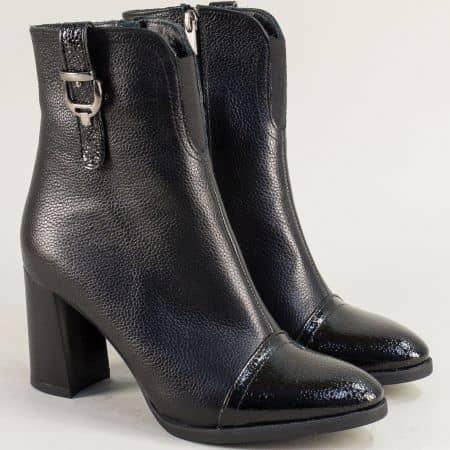 Черни дамски боти на висок ток от естествен лак и кожа ma707ch