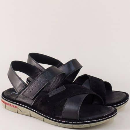 Мъжки сандали в черен цвят с кожена стелка и два ластика ma736ch