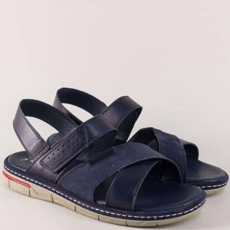 Шити мъжки сандали с лепка от синя естествена кожа ma736s