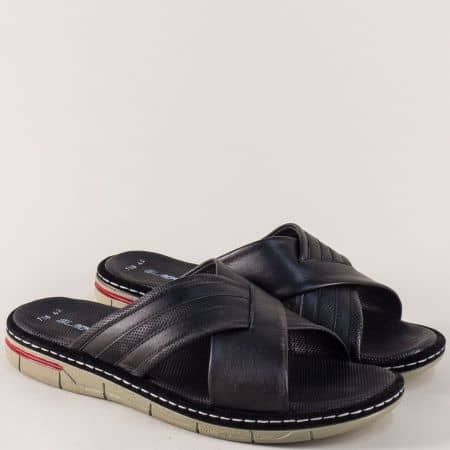 Равни мъжки чехли от естествена кожа в черен цвят ma738ch