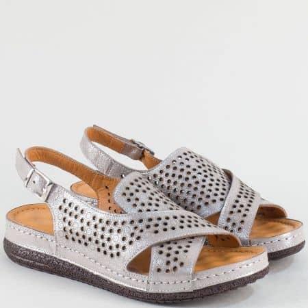 Сиви дамски сандали от естествена кожа с перфорация ma75stbj