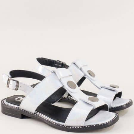 Сребърни дамски сандали от сатен и естествена кожа ma760ssr