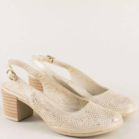 Златни дамски сандали от естествена кожа на среден ток ma802zl