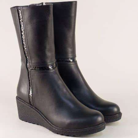 Шити дамски боти в черен цвят от естествен лак и кожа ma804chl