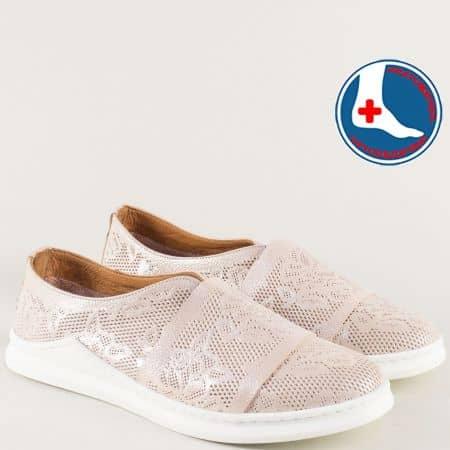 Анатомични дамски обувки с кожена стелка в розов цвят ma820rz