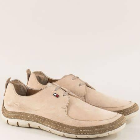 Мъжки обувки с връзки от естествен набук в бежов цвят ma82nbj