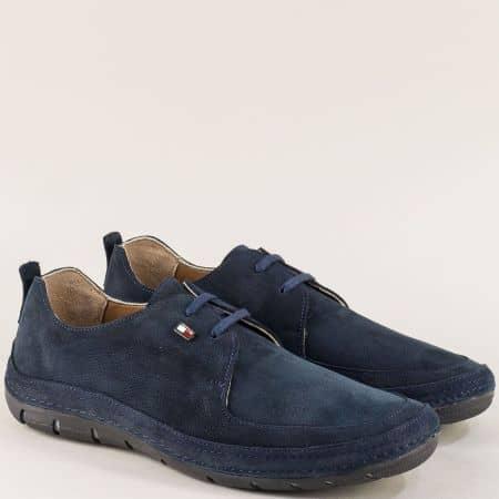 Тъмно сини мъжки обувки с връзки от естествен набук  ma82ns