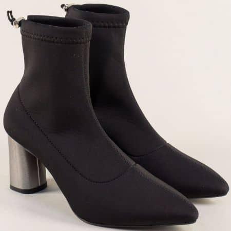 Дамски боти в черен цвят на метален висок ток ma85sch