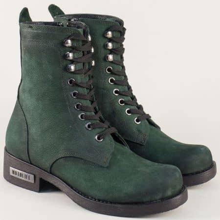 Модерни дамски боти от естествен набук в зелен цвят ma901nzz