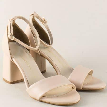 Бежови дамски сандали със затворена пета на висок ток ma902bj