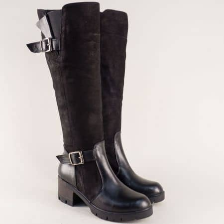 Дамски ботуши от естествен набук и кожа в черен цвят ma907nch
