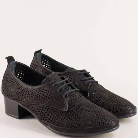 Черни дамски обувки с кожена стелка и перфорация ma916sch