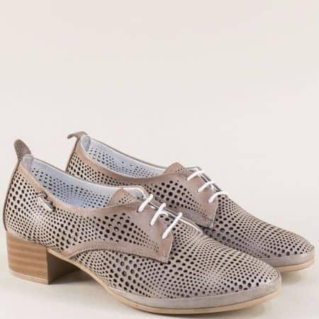 Бежови дамски обувки с връзки от естествена кожа ma916stbj