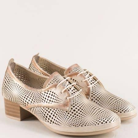 Естествена кожа дамска обувка в златист цвят на нисък ток  ma916szl