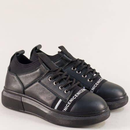 Дамски обувки от естествена кожа в черен цвят с връзки ma304ch