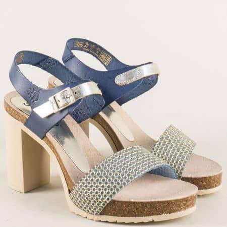 Анатомични дамски сандали от естествена кожа в синьо malibu050s