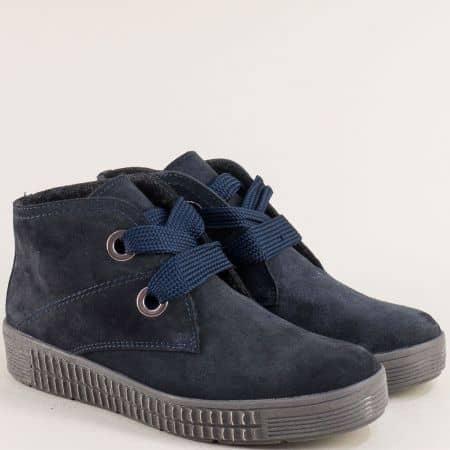 Тъмно сини дамски боти от естествен велур и каучук maren05vs