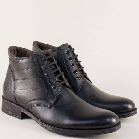 Мъжки боти в черен цвят от естествена кожа на комфортно ходило mat03ch
