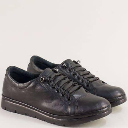 Равни дамски обувки с ластични връзки в черен цвят mat061ch