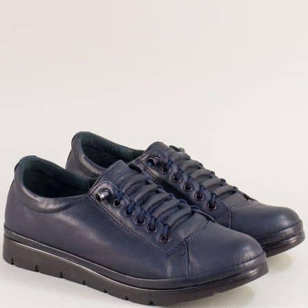 Спортни дамски обувки от естествена кожа в син цвят mat061s