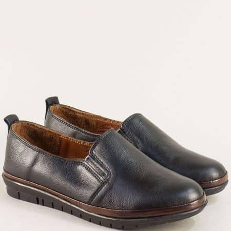Равни дамски обувки от естествена кожа в черен цвят mat06ch