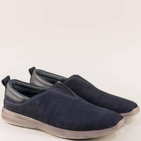 Тъмно сини мъжки обувки с ластик от естествен набук mat07s