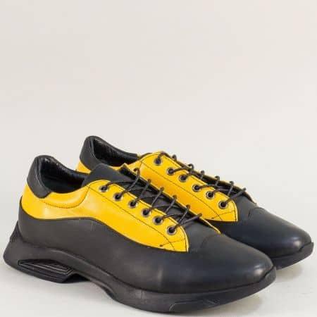 Fashion дамски обувки от естествена кожа в жълт и черен цвят mat088chj
