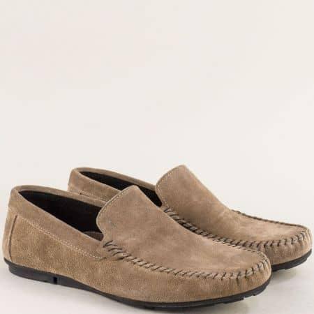 Бежови мъжки обувки, тип мокасини с велурена стелка mat100vk
