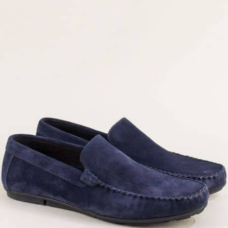 Велурени мъжки обувки, тип мокасина в син цвят mat100vs