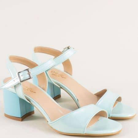Зелени дамски сандали с перлен блясък на висок ток mat101sz