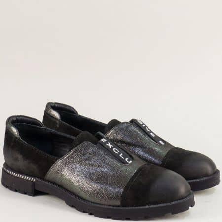 Равни дамски обувки с кожена стелка в бронз и черно mat116ch