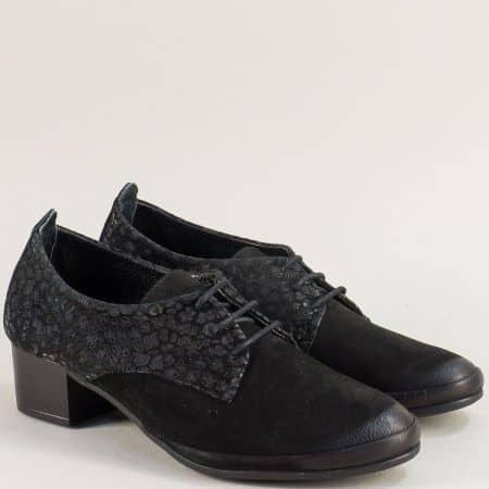 Черни дамски обувки на среден ток от естествен набук mat2006nchps