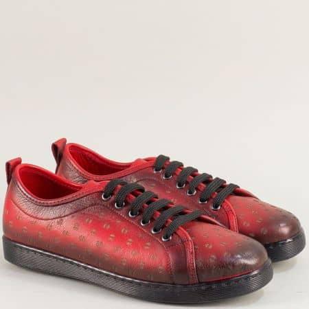 Червени дамски обувки на равно ходило от естествена кожа mat201chv