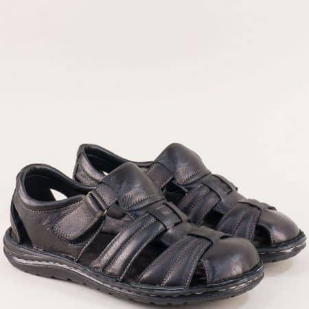 Мъжки сандали в черно със затворени пръсти и пета  mat202ch