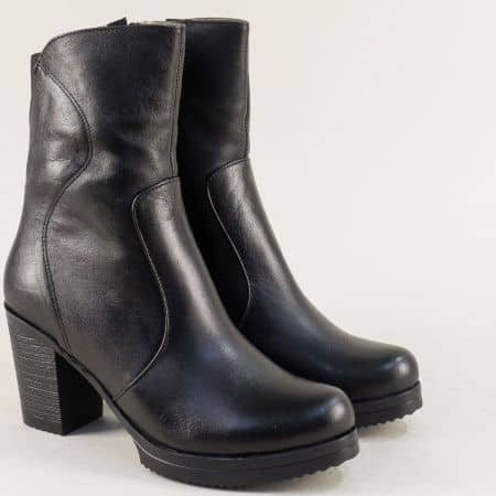Дамски боти на висок ток в черен цвят от естествена кожа mat45ch