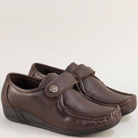 Тъмно кафяви дамски обувки, тип мокасина с лепка mat601kk