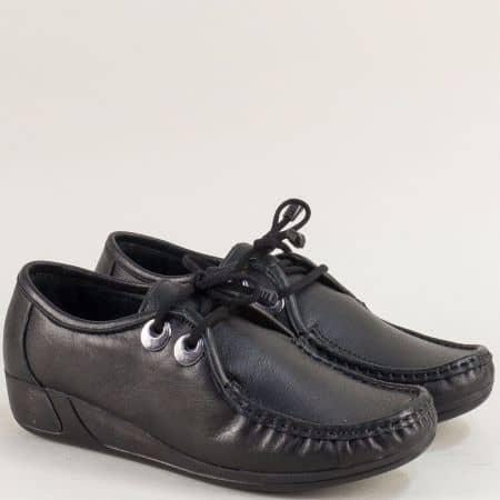 Естествена кожа дамски обувки тип мокасина на лека платформа в черно mat602ch