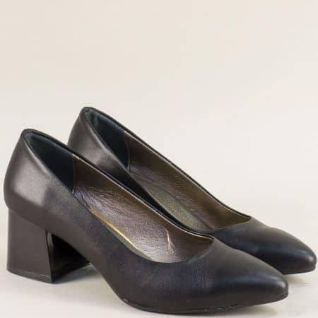 Черни дамски обувки на среден ток от естествена кожа mat743ech