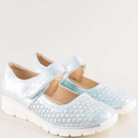 Комфортни дамски обувки от еко кожа в син цвят md130z