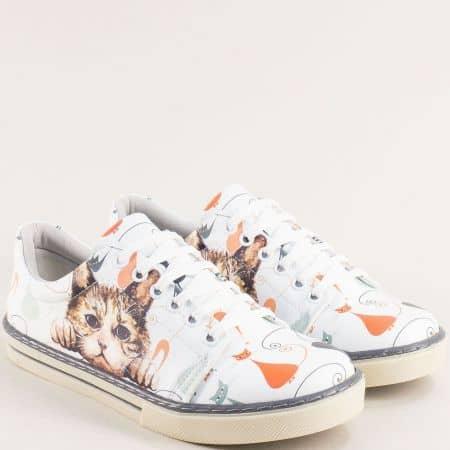 Дамски обувки тип кецове с декорация коте me101bps