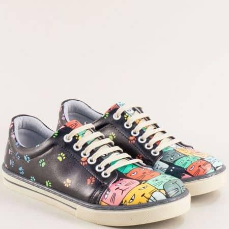 Дамски обувки тип кецове с декорация котета me101chps
