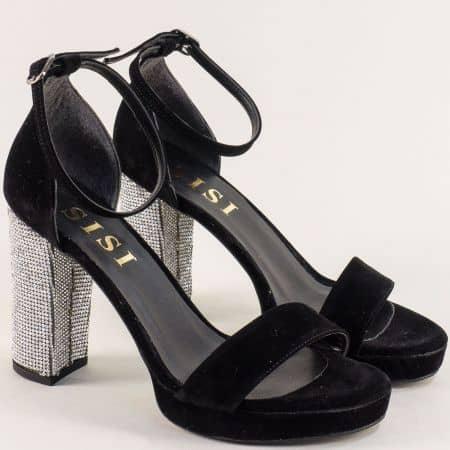 Дамски сандали в черен цвят на луксозен висок ток me111vch