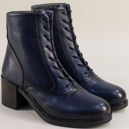 Сини дамски обувки естествена кожа на ток me200s